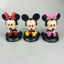 New Arrival Cartoon Mickey Mouse Minnie Mouse Cute 12cm Bobble Head Dolls Anime PVC Action Figure Kids Toys Car Decoration(China)