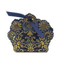 100PCS Navy Blue Laser Cut Candy Boxes Hollow Chocolates Bags Baby Shower Birthday Wedding Party Gifts Boxes(China)