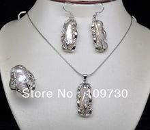 free shipping  Jewelry 00537 Natural Noble White Keshi BIWA Pearl Sets (necklace&earring*ring)