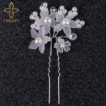 TREAZY Fashion Elegant Charming Women Bridal Wedding Faux Pearl White Flower Hair Clip Comb Headband Hairpin Jewelry For Wedding