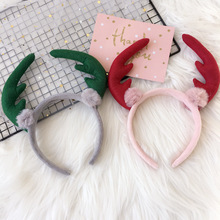 2017 Christmas Style Elk Sharp Corner Fabric Hairband Hairball Head Buckle Hair Ornaments Autumn and Winter Hair Accessories(China)