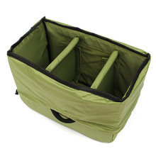 Nylon Dark Green Waterproof Camera Insert Padded Partition Bag Handbag Case for DSLR SLR Lens 25cm x 14cnm x 20cm