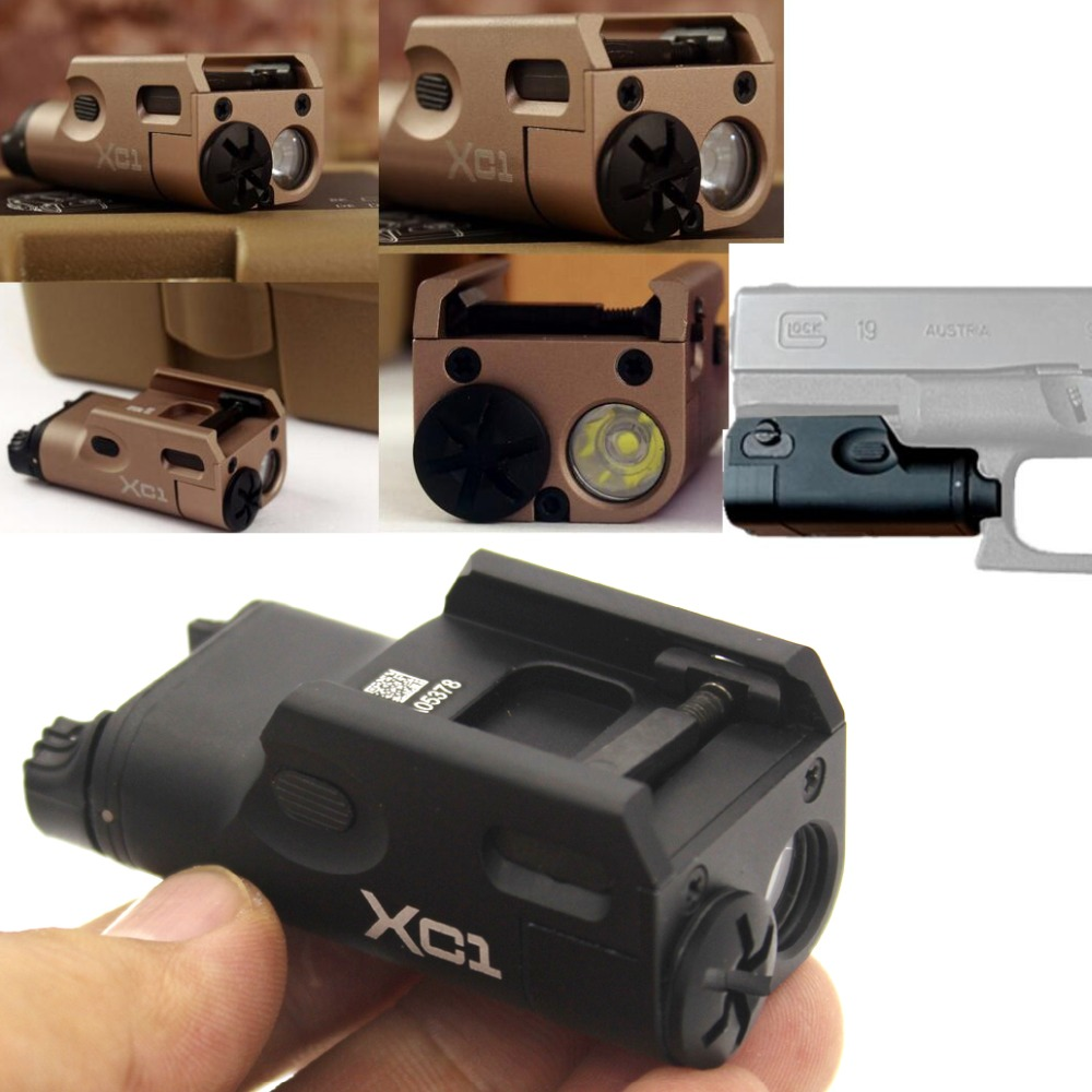 High Lumen XC1 Pistol MINI Light Tactical Airsoft Hunting Flashlight Used In GLOCK FIt 20mm rail (DE&amp;BK)<br>