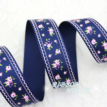 (5 yards/lot) 1'' (25mm) Deep Blue grosgrain ribbon printed lovely floral series ribbons