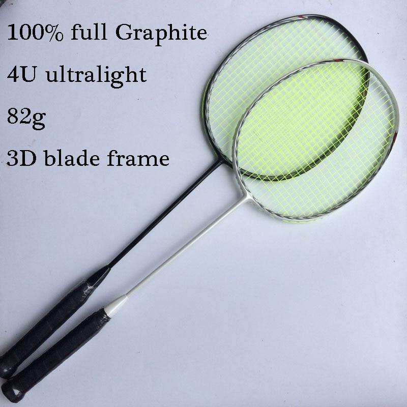 Ultralight 4U 82g 100% full carbon fiber Badminton Racquet Racket 3D Blade N80 Frame badminton racket 2 pcs free shipping by EMS<br>