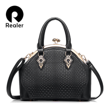 REALER brand design handbag women fashion black tote bag high quality PU leather shoulder handbag ladies office bags 5 colors