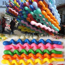 50Pcs/Lot Colorful Long Spiral Latex Screw Balloons , Festival Party Decoration Ballons  Free Shipping