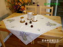 Garden Simple High-grade Lavender Embroidered Tablecloths Coffee Table Towel Table Runner Cover Towel Placemat Big Size A-78