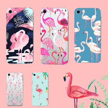 Latest Retro Flamingo Birds Tropical Forest Flower Cartoon Fall Lovely Soft Phone Case Back cover Gel For iPhone 6 7 plus 5s