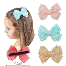 "4""Grosgrain Ribbon Hair Bow With Rhinestone Lovely Bling Hair Bows With Hair Clips For Girls Hair Accessories Party 2Pcs/lot"