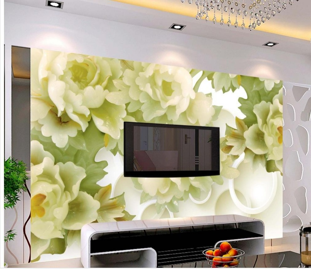 3d nature wallpapers Home Decoration Jade Peony flower TV backdrop photo wall murals wallpaper <br><br>Aliexpress