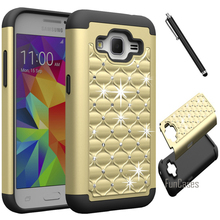For Samsung Galaxy Core Prime G360 G3608 Case Studded Rhinestone Crystal Bling Diamond Hybrid Armor Silicone+PC Cover +Stylus(China)