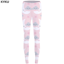 KYKU Brand Moon Leggings Cloud Long Legings Star Legging Pink Sexy Leggings Trousers for Legging 3d Women Slim Pants Stretchy(China)
