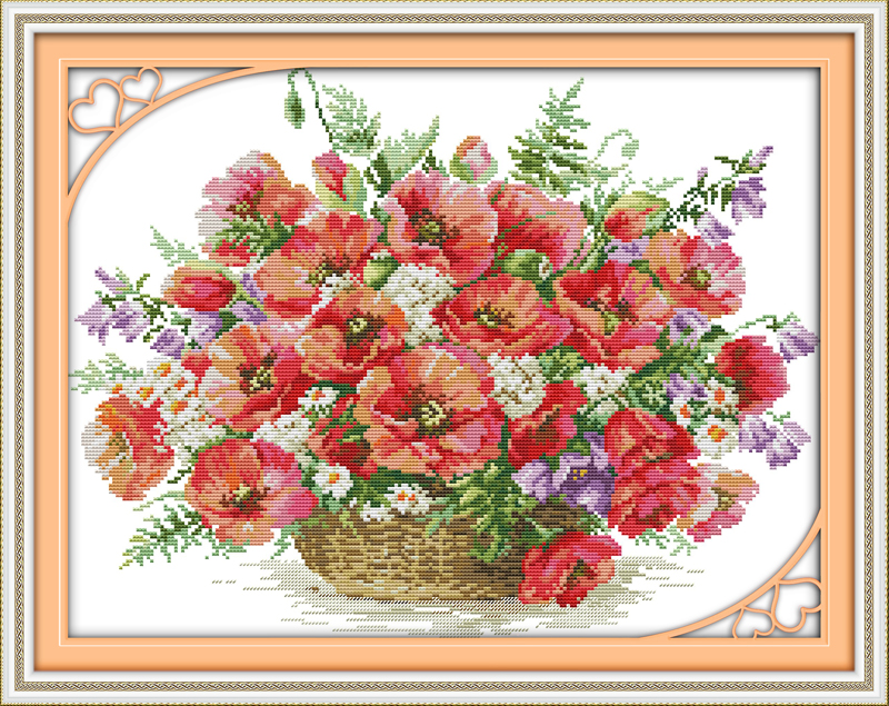 Вышивка крестом розы в корзине алиса 67