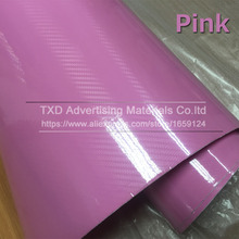 high glossy Pink 5D black carbon fiber vinyl Sticker carbon fiber car wrap carbon fiber vinyl film carbon fiber car wrap sheet