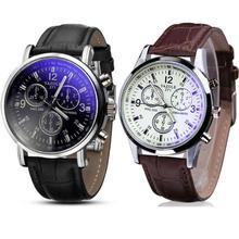 Erkek Kol Saati Reloj Hombres Relogio Masculino Gift 2PC Luxury Faux Leather MenWatch Blue Ray Glass Quartz Analog June6