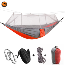 High Strength Double Person Hammock Portable Camping Furniture Outdoor Travel Kits Stit Mixed colors(China)