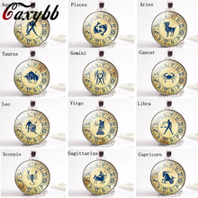 Caxybb Brand 12 Zodiac Sign Twelve Constellation Glass Cabochon Pendant Necklace Aquarius Pisces Aries Taurus Gemini Pendant