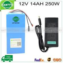e bike battery 12v 14ah 250w with 12.6v 5A charger,25A BMS 12v battery pack Lithium battery 12v for LED light free shipping(China)