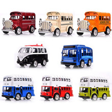 Antique Model Car Bus Children's Educational Toys,Vintage school bus double decker bus Miniature Car Collectible Toys gift