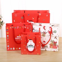 12pcs/lot Kraft Paper Bag Merry Christmas Gift Bags Candy Packaging Recyclable Food Bread Shopping Party Bags Santa/Snowman/lett