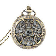 Hollow Butterfly Case Quartz Fob Pocket Watch With Necklace Chain Steampunk Men Women Gifts LL@17