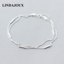 LINDAJOUX 925 Sterling Silver Fashion Two Layers Snake Chain Anklet For Women S925 Ankle Bracelet Adjustable Length(China)