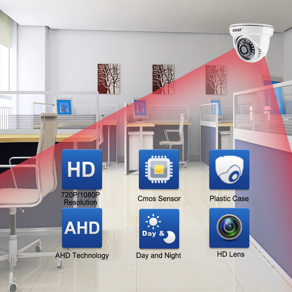 Smar HD 720P 1080P AHD Camera 2000TVL AHDM Camera 1MP2.0MP Indoor Security Dome Camera IR Cut Filter Plastic CCTV Home