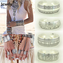 Jewdy Vintage Bohemian tibetan Silver Open Wide Flower Pattern Metal Cuff Bangle Adjustable Bracelet Fashion Jewelry for women