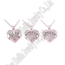 Pack of 3 Big Middle Little Sister Sis Crystal Heart Pendant Necklace Women Girl Jewelry Gifts