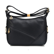 Fashion Women Genuine Leather Handbags Bag For Female Woman Black Shoulder Bag Women Handbag Crossbody Lady Travel Messenger Bag(China)