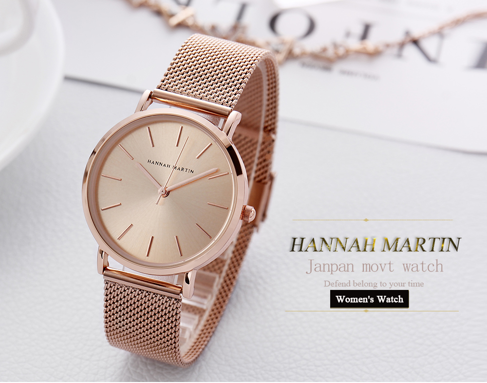 2018 New Style Bracelet Japan Quartz Movement Stainless Steel Mesh Band Women Watch Waterproof Full Rose Gold Lady Watch 36mm