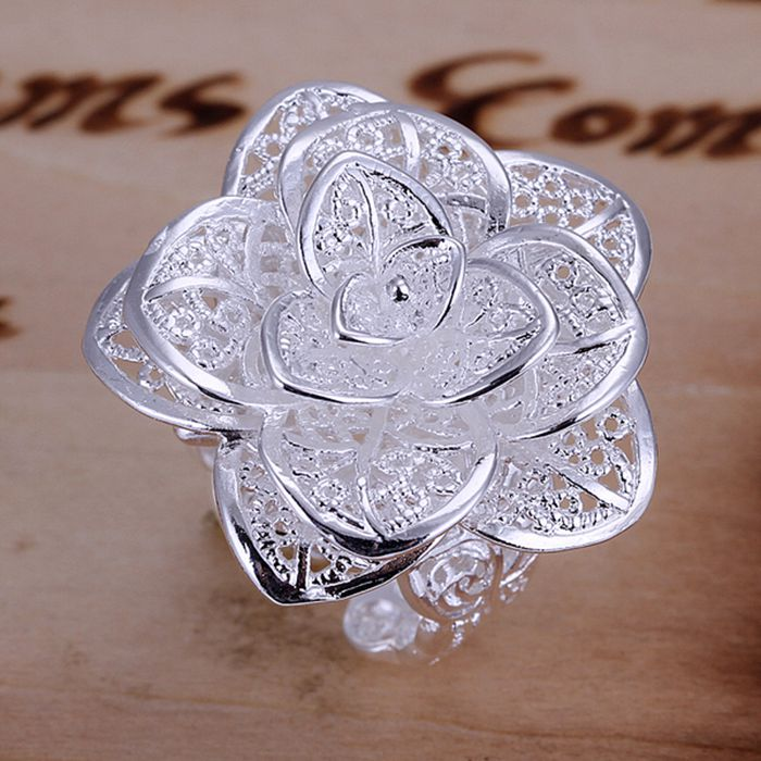 925 jewelry silver plated jewelry ring fine nice flower ring top quality wholesale and retail SMTR116(China (Mainland))