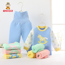 child of tall waist abdomen thermal underwear suit baby cotton long sleeve autumn clothing baby sleep clothes(China)