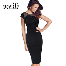 VEEKLE Women 2017 Summer Crochet Embroidery Floral Plus Size XXXL Black Straight Elegant Evening Party Bodycon Work Office Dress(China)