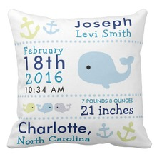 Canvas Custom Cushion Cover, Nautical Whale Birth Stats Nursery Throw Pillow Cases,Decorative Sofa Pillow Cover,Home Decor Gifts