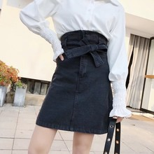 Buy 2018 New Ladies High Waist Bowknot Belted Denim Skirt Office Work Women A-Line Black Mini Skirts Slim Fit Party Saia Feminina for $26.05 in AliExpress store