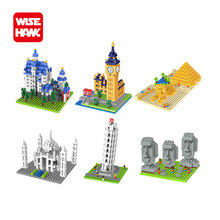 Wise nano blocks funny world famous architecture Big Ben Pisa mini plastic building bricks diy micro model educational kid toys.