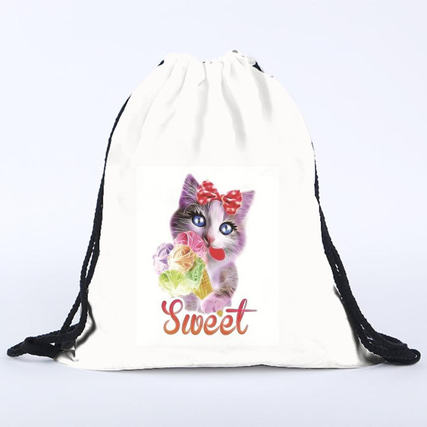 Naivety New Women Floral Cat 3D Printing Drawstring Bags Cute Backpack Gift For Christmas S61228 drop shipping<br><br>Aliexpress