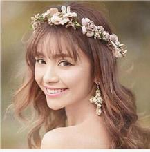 H:HYDE Fashion Women Bride Flower Headband Bohemian Style Rose Flower Crown Hairband Ladies Elastic Beach Hair Accessories