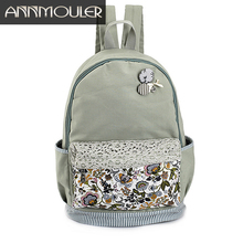 Annmouler Brand Women Backpack Lace Flower Canvas Rucksack Discount Laptop Bag Large Capacity Bagpack Cute Girls School Bags