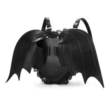 Vintage Fashion Gothic Rock Devil Wings Women's Black Leather Japanese Harajuku Cosplay Bag