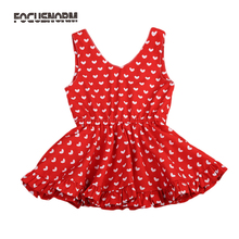 Girls Dresses Baby Kids All Hearts Printing Dress Bebes Girls Red Yellow V-neck Dresses Princess Party Cute Summer New Clothing(China)