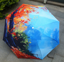 Oil Painting umbrella sun umbrella anti-uv folding umbrella rain women umbrellas(China)