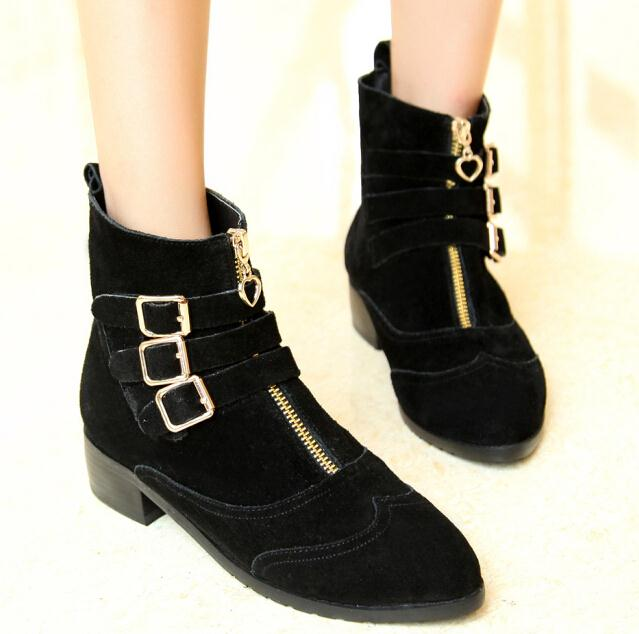 ENMAYER genuine leather cow leather boots fashion platform wedges Ankle boots fashion shoes for women motorcycle boots<br><br>Aliexpress