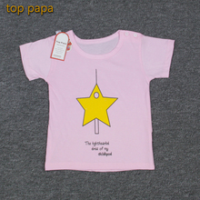 Top Papa Girl Cute Summer Cheap Discount Top Clothes Children Kid Five-pointed Star Design Lucky Star Popular Pink T-shirt