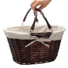 Storage Basket with Linen Willow Wicker Picnic Shopping Hamper with Handle Handmade Rattan Steamed Cassette Cover 35x29x19cm
