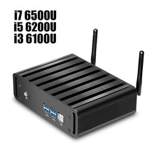XCY Mini PC Desktops with Intel Core i3-6100U i5-6200U i7-6500U CPU Fanless Windows 10 WiFi HTPC 4K HDMI VGA Gamer PC