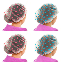 2pc Shower Caps Cute Dots Pattern EVA Material Bath Hats Water-proof Kitchen Hair Anti-smoke Hat Free Drop Shipping High Quality(China)