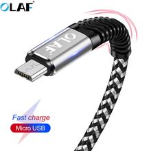 OLAF Micro USB Cable 2.4A Smsung S6 S7 1m 2m Fast Charge USB Data Cable Nylon Sync Cord Xiaomi Huawei Mobile Phone Cabo